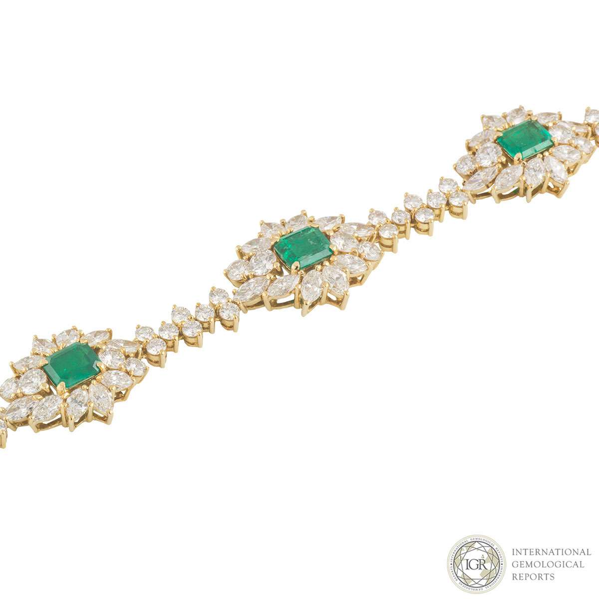 Yellow Gold Diamond and Emerald Necklace